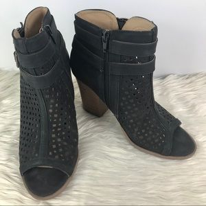 Brash open toed black booties w/ cut outs side zip
